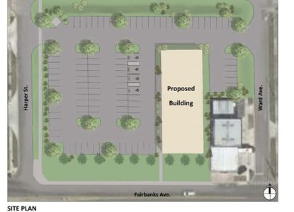 A conceptual site plan by Orlando Neurosurgery affiliate Verax Investments LLC, showing how it would orient a 20,000-square-foot medical office building on the 1111 W. Fairbanks Ave. property.