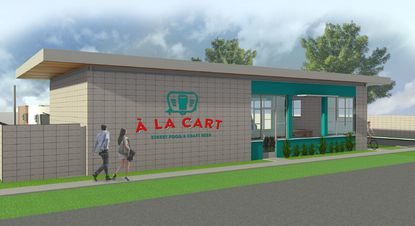 A rendering of a covered seating pavilion building in the proposed A La Cart food truck park on Irvington Avenue, near downtown Orlando.