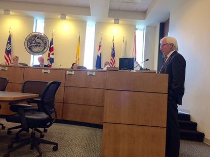 Phil Anderson addresses the Winter Park City Commission on Monday, regarding the Progress Point property and his proposed upscale assisted living facility.