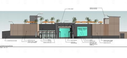 Partial view of north elevation of the proposed Senso Beach Club, an adults-only dayclub and pool planned for land off the southeast corner of International Drive and Central Florida Parkway.