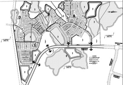 With north to the right on this map, Tavistock's first phase of four neighborhoods for Sunbridge in southeast Orange County would cover 281.9 gross acres with 548 residential lots, and a portion of the Sunbridge Parkway right-of-way.