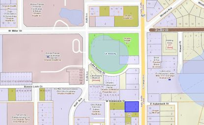 Highlighted in blue is the parcel at 1724 S. Orange Ave., located southeast of ORMC, and the Winnie Palmer and Arnold Palmer hospitals for women and children.