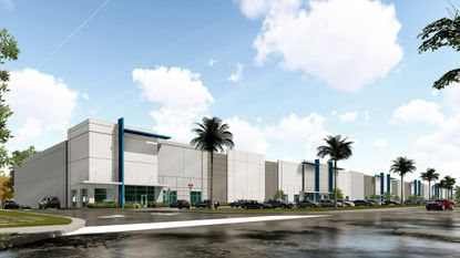 Updated rendering of the public-facing appearance of light industrial buildings at the Park @ 429 in Ocoee, where City Furniture will open aretail showroom.