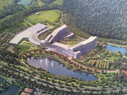 An aerial rendering of the 54.5-acre site along Lake Nona Boulevard that KPMG bought in late December, with plans for an 800,000-square-foot corporate training and conference center.