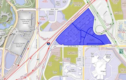 Highlighted in blue, the eight parcels totaling just over 54 acres make up Orlando International Premium Outlets, located at the north end of International Drive, with frontage on W. Oak Ridge Road.
