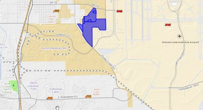 Highlighted in blue are the 198.84 acres across six parcels still owned by Mulvaney affiliates, a property mass accessible via 8th Street, Boggy Creek Road and Rayburn Street, directly west of Orlando International Airport.