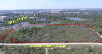An aerial view of the property at 14544 Avalon Road looking west.