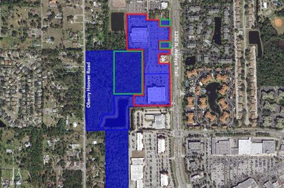 Outlined in red is the Shoppes at Alafaya retail center as currently developed, in the 1250 block of N. Alafaya Trail. Outlined in green are approximations of Phase 3 retail expansion, and in blue are all properties affected within the PD zoning.