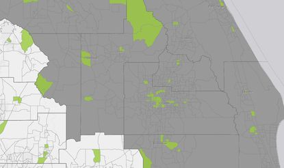"""Within the grayed counties that are considered by the state as the Orlando Metro market, census tracts in green have been designated as """"Opportunity Zones,"""" which offer advantages to real estate investors."""