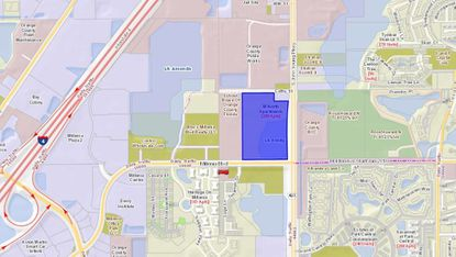 Highlighted in blue is the 288-unit M North Apartments property, on the northwest corner of Millenia Boulevard and S. John Young Parkway, northeast of the Mall at Millenia.