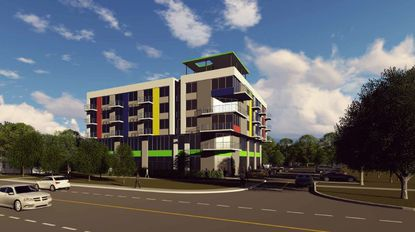 Conceptual plans for Icon Commons call for a five-story building with 26 live-work units.
