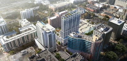 The developer who built Citi Tower in 2017 is eyeing another downtown Orlando site across the street for an even taller mixed-use high rise (center) with a luxury hotel and condos.