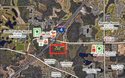 The 46-acre Blackwater parcel (outlined in red) sold in November for $2.73 million to an investment group managed by attorney Joe Ort. The site is centered between ChampionsGate and Reunion Resort, right at the I-4 interchange.