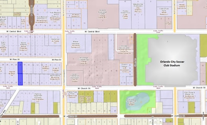 Highlighted in blue are the two industrial/office properties sold between W. Church and W. Pine streets, one and a half blocks west of Orlando City Soccer Club's stadium.
