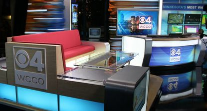 Partial view of a television news studio set designed by FX Design Group in Minnesota.