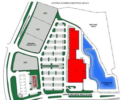An aerial rendering of the proposed layout of Konover South's planned shopping center in Meadow Woods. The space in red would be the retail center, with the centered lot in gray to the west included in the land acquisition, for a possible Walmart fuel station.