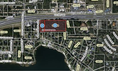 Highlighted in red are 5.25 acres located at the southeast corner of U.S. 441 and Alameda Del Sur, across the street from the Mellow Mushroom in Mount Dora.
