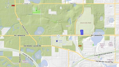 Accretion Capital recently bought the parcel highlighted in blue, a Best Buy-anchored property on W. Colonial Drive in Ocoee in front of West Oaks Mall.