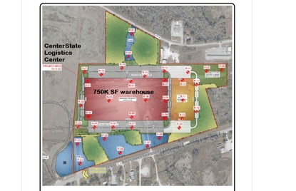 This conceptual plan for a 750,000-square-foot warehouse was filed with the application for mass grading the former Lakeland Dragstrip property on S.R. 33. The site is nextdoor to the expanding CenterState Logistics Center.