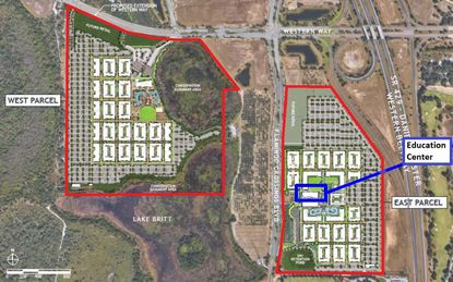 A proposal to develop $615M worth of housing in the Flamingo Crossings Town Center area west of State Road 429 and south of Western Way includes two parcels.