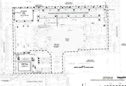 A Development Plan for the Four Points by Sheraton hotel property on N. International Drive. The additional parking would be paved on a horizontal patch of land north of the hotel, and the prospective retail building set on the northeast corner of I-Drive and American Way.