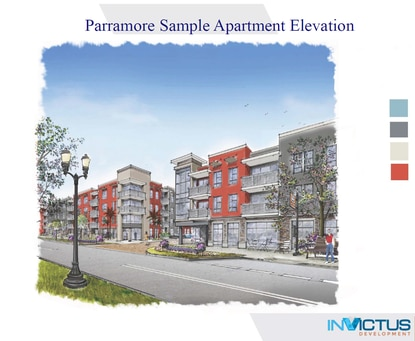 An updated rendering of mixed-income apartments planned in Parramore by InVictus Development.