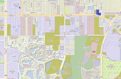 Located at 6847 Hoffner Ave., the 1.5 acres across two parcels (highlighted in blue) lie just west of an intersection with S. Goldenrod Road.