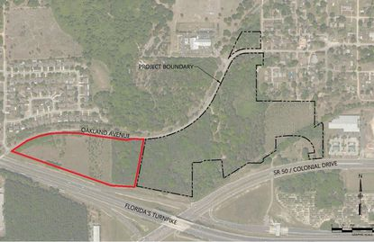 Outlined in black are the 41 acres under contract to Pulte Group for 184 single-family home lots between Oakland Avenue and S.R. 50. The red outlined portion (17 acres) is planned for future development as multifamily and senior living.