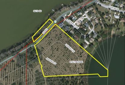 Outlined in yellow is the land targeted for 59 home lots by D.R. Horton in Tavares.