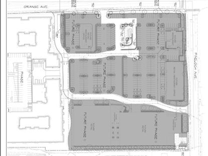 In this new site plan for the 11.7-acre Southside Shoppes development, Phase 1 in white shows the 300-unit apartment complex, an internal road system and the Twistee Treat outparcel. North is on the right side of this image.