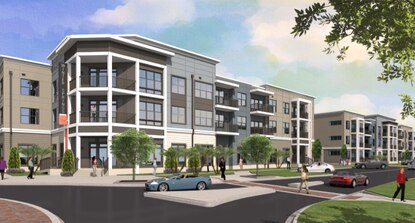 This rendering shows the exterior design proposed for a Winter Springs apartment complex being developed by Catalyst Development Partners. Catalyst plans to use the same architectural plans as the previous developer, Pollack Shores Real Estate Group.
