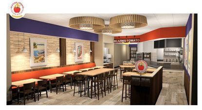 A rendering of the dining room and open kitchen planned for Blazing Tomato Italian Kitchen, in the I-Shops retail strip on International Drive.