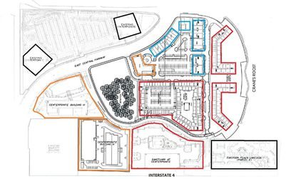 On this new conceptual site plan, north is to the left. Within the 55-acre CenterPointe on the Park mixed-use development, the central core that is now a single-story office park would be redeveloped with a retention pond, two multifamily projects (red), retail and dining (blue) and an office building (orange). Outside that core, existing buildings (black) and previously planned office (orange) and multifamily (red) segments of CenterPointe are noted.