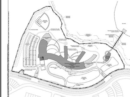 This overall site plan shows the outline of 54 acres Tavistock wants to develop into a corporate training and lodging center in Lake Nona Central, southwest of Red Lake. The dark gray-shaded buildings in the center would be the focus of Phase 1.