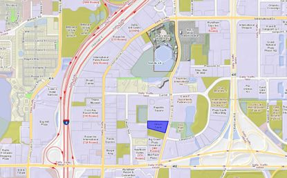 Highlighted in blue is the Atrium Tower property at 7680 Universal Blvd., which was acquired as part of a new investment portfolio managed by a Middle Eastern private equity group.