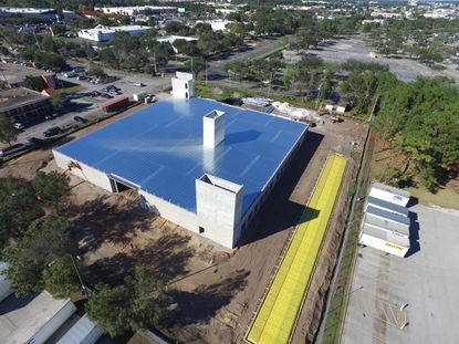 A recent drone photo showing construction progress of a new Stor Kwik Self Storage being built near The Florida Mall on Sunlife Path.