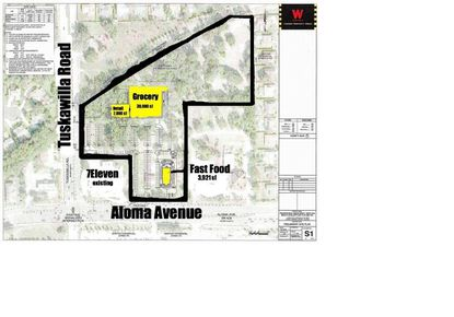This 11.06-acre parcel lies at the northeast corner of Tuscawilla Road and Aloma Avenue. A 7-Eleven convenience store already exists at that corner, and Wagner's plans would wrap around that existing store.