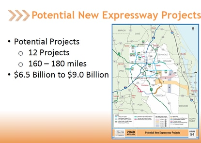 The Central Florida Expressway Authority is expected to vote in May on a 2040 master plan that calls for up to $9 billion in new toll roads.