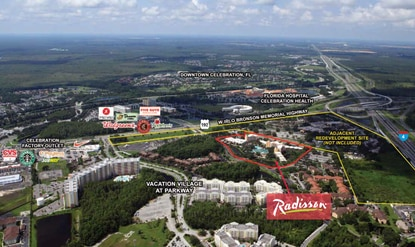 The 718-room Radisson Resort Orlando-Celebration, which sold Friday, has strong visability from I-4.