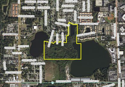 Outlined in yellow are the 53.54 gross acres along Lake Shadow in Maitland proposed for a new apartment complex and public park by developer The Bainbridge Companies.