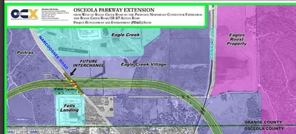 The proposed Osceola Parkway Extension would bisect a portion of Eagle Creek that was slated for future development of 254 homes.
