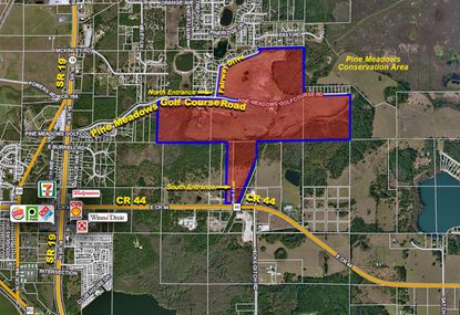 A 241-acre property formerly Pine Meadows Golf Course is up for sale with an annexation proposal in Eustis, with a mix of residential and commercial uses proposed.