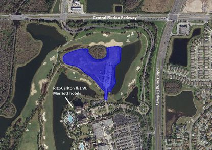 Highlighted in blue is the 11.4-acre parcel within the Grande Lakes Resort property, on the southwest corner of Central Florida and John Young parkways.