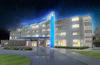 A rendering of the front of Best Western's new hotel brand, Glo.