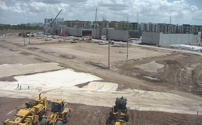 View from a live construction camera the week of April 5, showing progress on the first three buildings at Vineland Pointe, a 69-acre retail center development based northeast of the Vineland Premium Outlets, north of Lake Street and Regency Village Drive, and on either side of Daryl Carter Parkway.