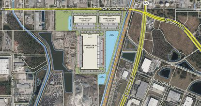 Plans for the 800,000 square-foot McCoy Field Logistics Center consist of three warehouse buildings near Orlando International Airport.