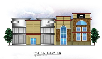 This rendering shows the combined restaurant and gift shop front elevation. The mechanical parking lifts will be camouflagedat the rear of the building.