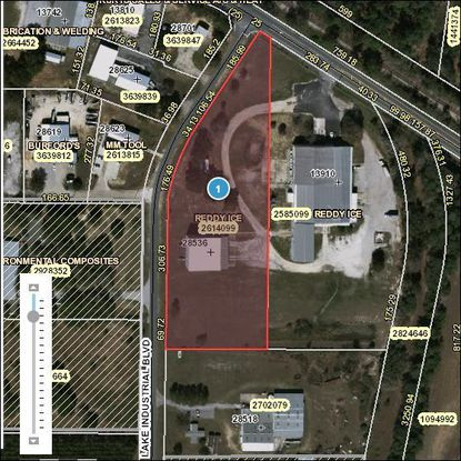 The parcel outlined in red and its mirror image to the right, former home to Reddy Ice, are being considered for a meat processing operation near Tavares.