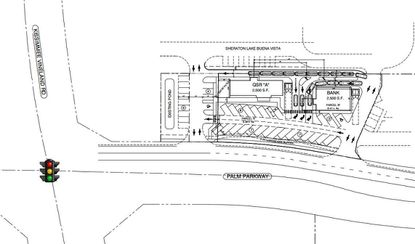 This conceptual site plan shows a proposed redevelopment of a closed Pizza Hut property, into two stand-alone retail buildings with potential drive-thrus, at the northeast corner of Palm Parkway and Apopka Vineland Road.