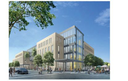 This view of the proposed five-story academic commons building is looking southeast from Livingston Street.